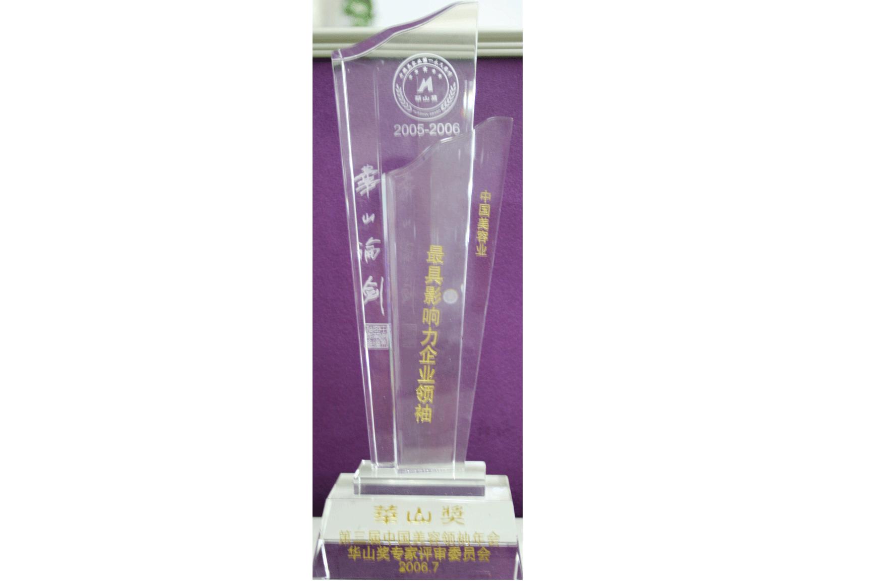 """2005-2006年度""""华山奖·中国美容业最具影响力企业领袖""""奖座"""