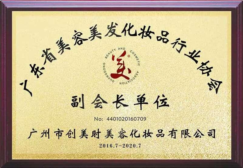 2016广东省美容美发化妆品行业协会副会长单位奖牌