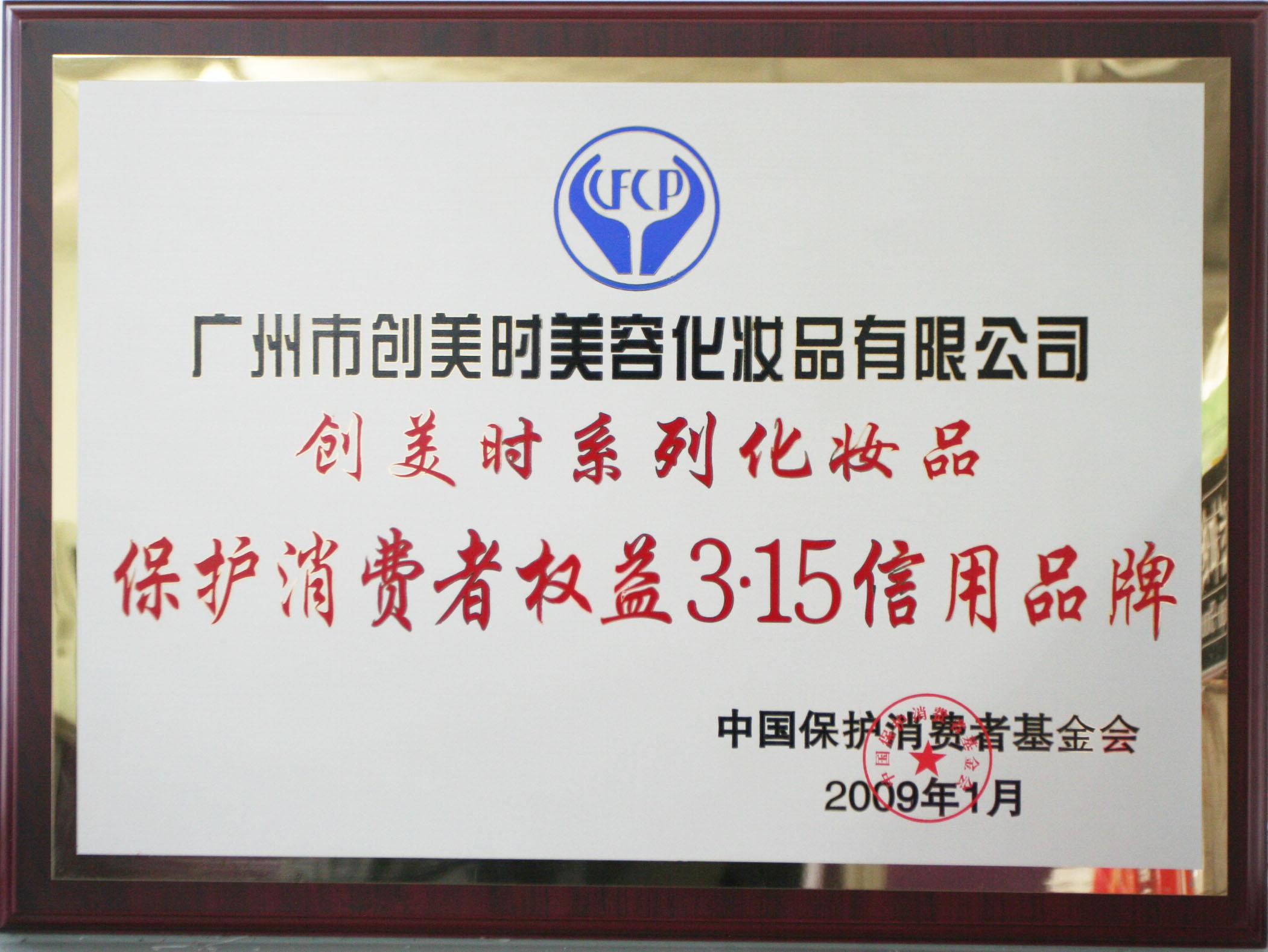 2009保护消费者权益3.15信用品牌奖牌